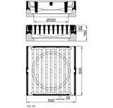 Längsaufsatz für Fußgängerzonen, 500x500 SW16, m.E. Kl.D, PF